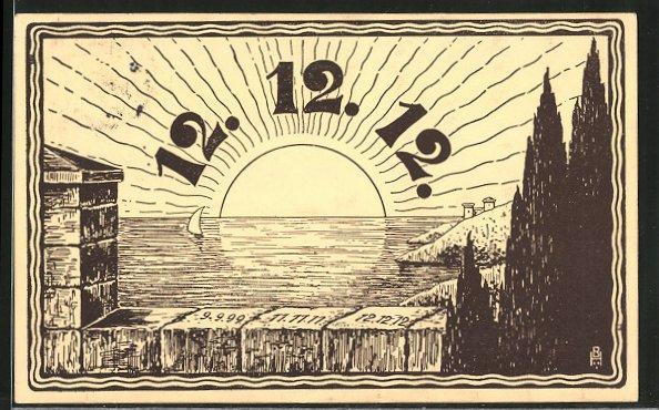 Künstler-AK Datum 12.12.12, Sonnenaufgang