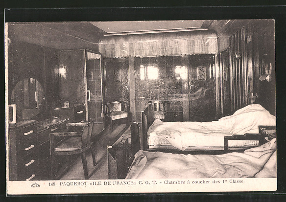 AK Passagierschiff Ile de France, Chambre à coucher de 1er Classe ...