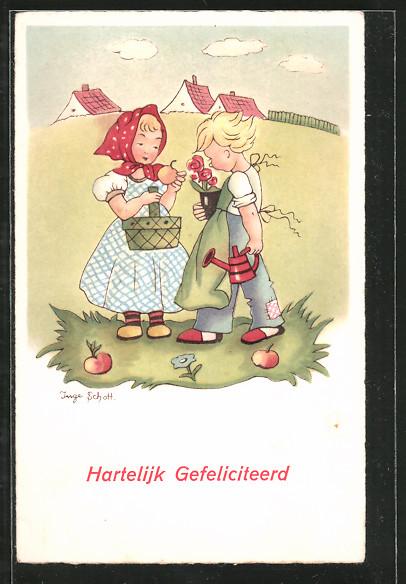 Künstler-AK Inge Schott: Hartelijk Gefeliciteerd, Niederländiche Kinder mit Äpfeln