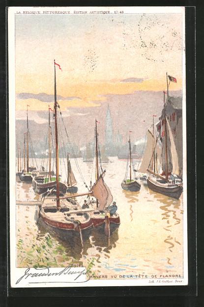 Künstler-Lithographie F. Ranot: Anvers / Antwerpen, Vu de la Tête de Flandre, Hafenpartie