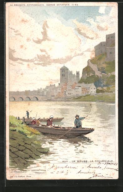 Künstler-Lithographie F. Ranot: Huy, La Meuse, la Collégiale, Partie mit Kahn
