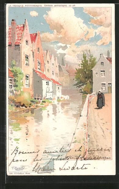 Künstler-Lithographie F. Ranot: Bruges / Brügge, Vieux Pignons, Ortspartie in der Altstadt