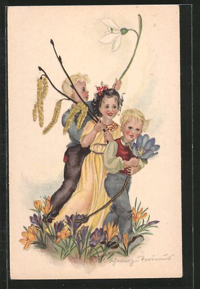 Künstler-AK Schwarz-Torino: Kinder mit Blumen