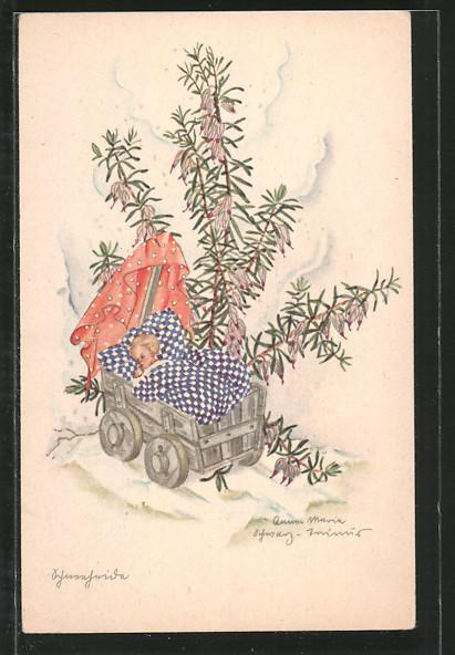 Künstler-AK Schwarz-Torino: Schlafender Säugling in Kinderwagen und blühende Pflanze