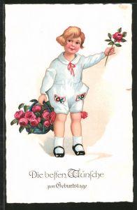 AK Geburtstag, Knabe mit einem Korb voller Rosen