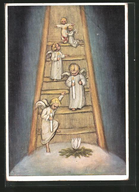 Künstler-AK Maria Spötl: Engel mit Kerzen auf einer Leiter
