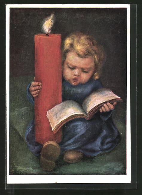 Künstler-AK Maria Spötl: Singendes Engelchen mit Kerze