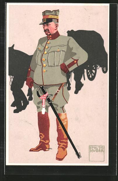 Künstler-AK sign. Emil Huber: schweizer Oberst-Lieutenant 5. Train in Felduniform