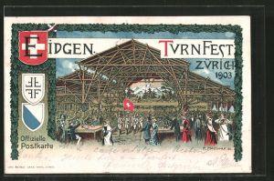 Künstler-AK Zürich, Eidgen. Turnfest 1903, auf dem Festgelände