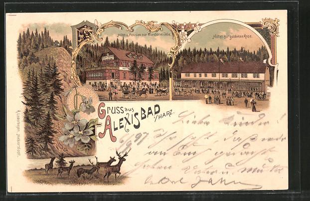 Lithographie Alexisbad, Hotel & Pension zur Klostermühle, Hotel zur goldenen Rose
