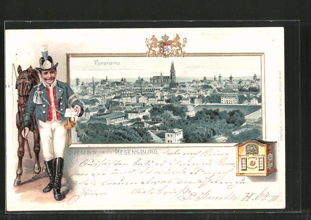Lithographie Regensburg, Panorama der Stadt, Postbote bringt einen Brief