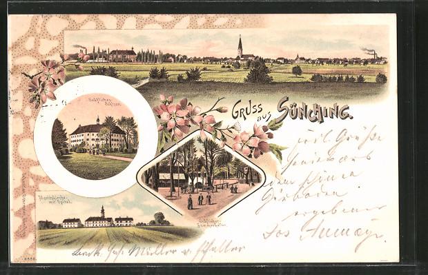 Lithographie Sünching, Gräfl. Schloss, Moritzkirche mit Spital, Gräfl. Sommerkeller