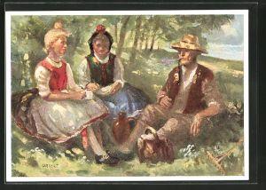 Künstler-AK Ruhepause, Bauer mit zwei Frauen in hessischer Tracht