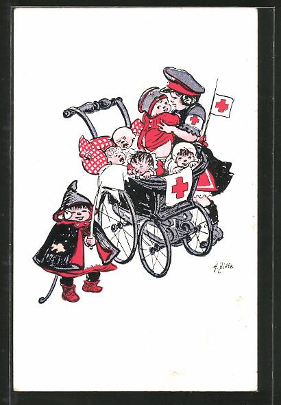 Künstler-AK Heinrich Zille: Mädchen mit Armbinde des Roten Kreuzes kümmert sich um Babys im Kinderwagen