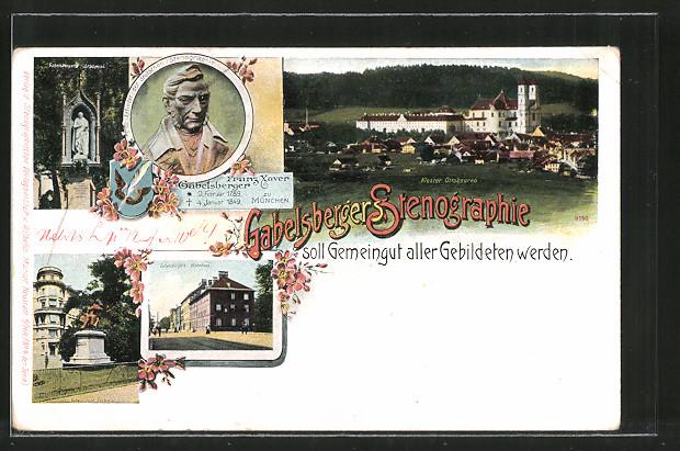 AK Ottobeuren, Franz Xaver Gabelsberger, Erfinder der Stenographie, Gabelsberger's Grabmal und Wohnhaus
