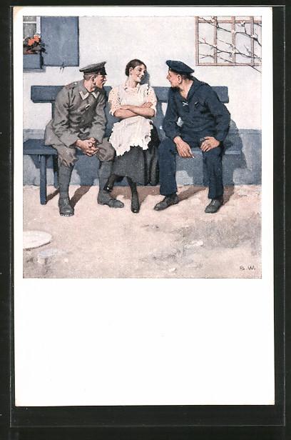 Künstler-AK Brynolf Wennerberg: Geplänkel, Matrose und Soldat flirten mit einer schönen Frau