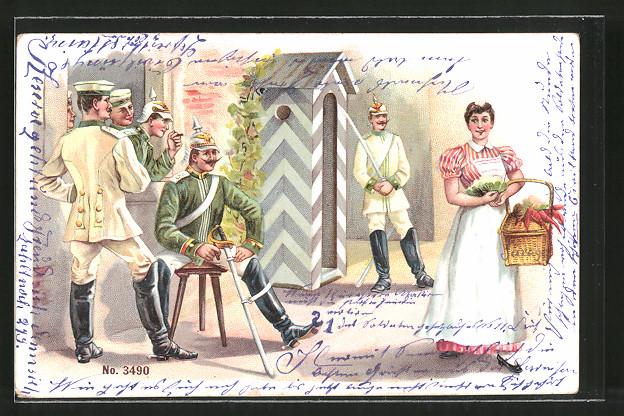 Lithographie Kavalleristen in Uniform schauen einem Dienstmädchen hinterher