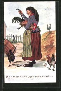 Künstler-AK Er liebt mich-er liebt mich nicht, Bäuerin rupft einem Hahn die Federn aus, Scherz