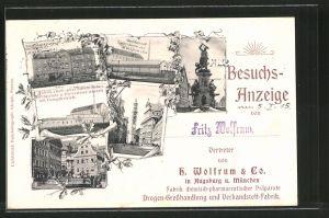 AK Augsburg, Fabrik chemisch-pharmaceutischer Präparate Wolfrum & Co., Ankündigung eines Vertreters