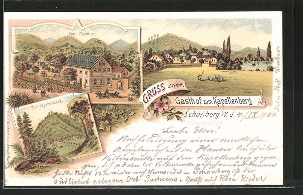 Lithographie Schönberg, Gasthof zum Kapellenberg, Blick zum Kapellenberg