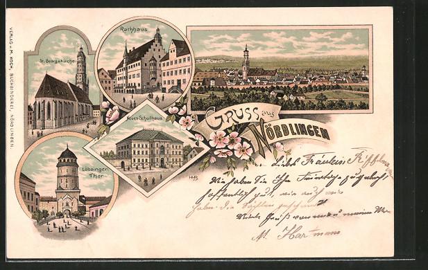 Lithographie Nördlingen, Neues Schulhaus, Rathaus, St. Georgskirche