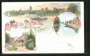 Lithographie Plau, Gasthaus auf dem Klüschenberg, Eldepartie, Ortsansicht, Dampfer, Ruderboot, Segelboot