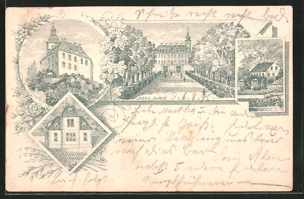 Lithographie Seusslitz, 1895, Blick zum Schloss Seusslitz, Schloss Hirschstein
