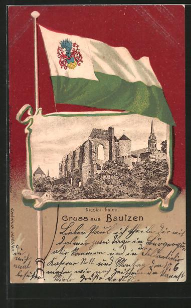 Passepartout-Lithographie Bautzen, Blick zur Nicolai-Ruine, Fahne