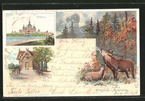 Lithographie Bremen, Wildgehege im Bürgerpark, Parkhaus
