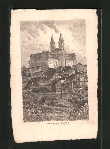 Künstler-AK Carl Jander: Quedlinburg, Blick zum Schloss