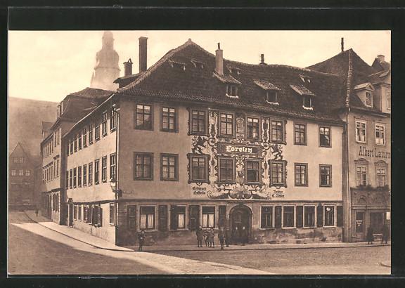 AK Coburg, Strassenpartie am Gasthaus