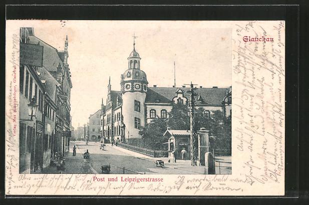 AK Glauchau, Partie an der Post und Leipzigerstrasse