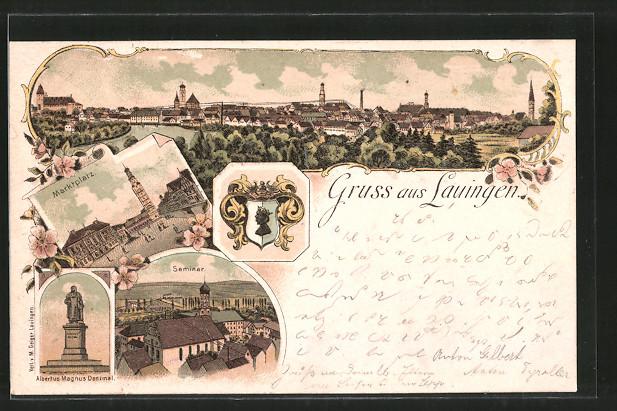 Lithographie Lauingen, Seminar, Marktplatz, Albertus Magnus-Denkmal, Wappen