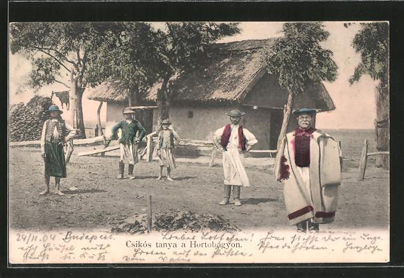 AK Csikós tanya a Hortobágyon, ungarische Bauern in Tracht