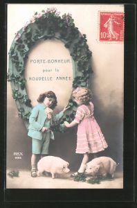 AK Porte-Bonheur pour la Nouvelle Année, Kinder mit Hufeisen und Schweinchen