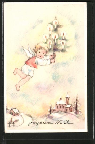 AK Joyeux Noel, Kleiner Weihnachtsengel mit Christbaum