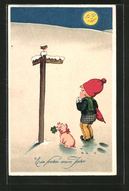 AK Ein frohes neues Jahr, Kind und Schwein an Wegweiser im Schnee Nr ...