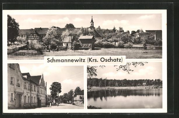 AK Schmannewitz, Gasthaus Schmannewitz, See und Ortsansicht