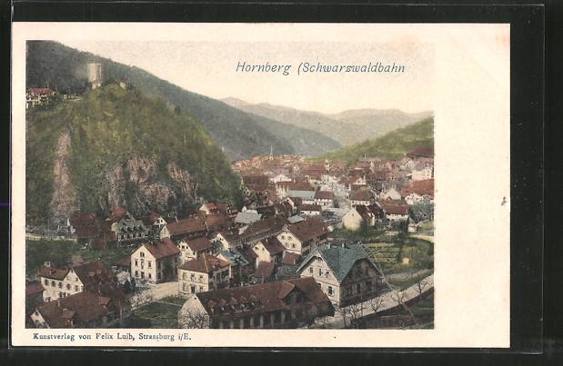 AK Hornberg, Blick über die Ortschaft mit Burgruine