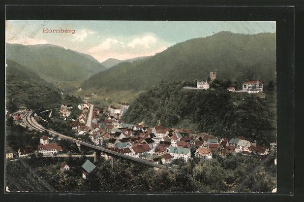 AK Hornberg, Ortsansicht mit Bahnhof und Burgruine