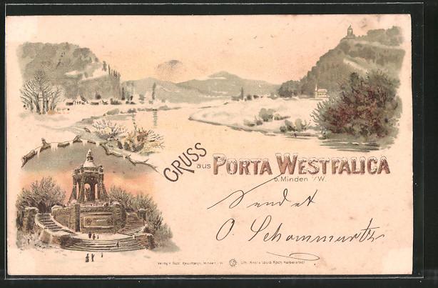 Winter-Lithographie Porta Westfalica, Kaiser Wilhelm-Denkmal, Flusspartie
