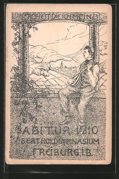 Künstler-AK Freiburg, Absolvia Abitur 1910 Bertholdgymnasium, Freiheit die ich meine!, Schüler mit Laute