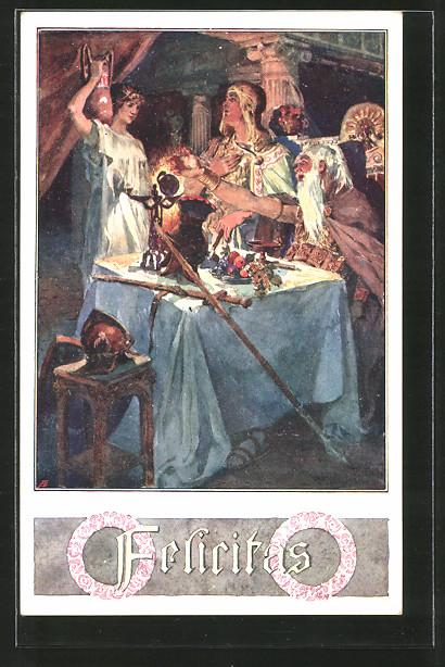 Künstler-AK Anton Marussig: Felicitas, römische Göttin der Fruchtbarkeit und des Glücks