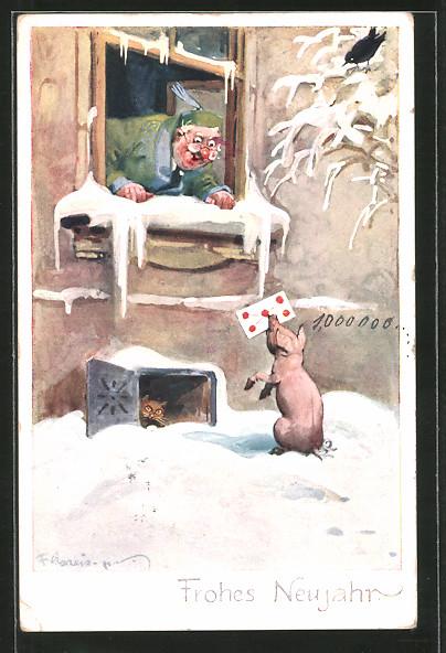 Künstler-AK F. Gareis: Frohes Neujahr, Glücksschwein überbringt Brief