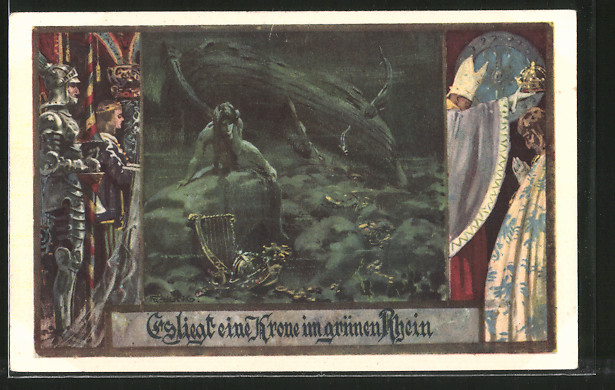 Künstler-AK Franz Jung-Ilsenheim: Es liegt eine Krone im grünen Rhein, Deutschtum