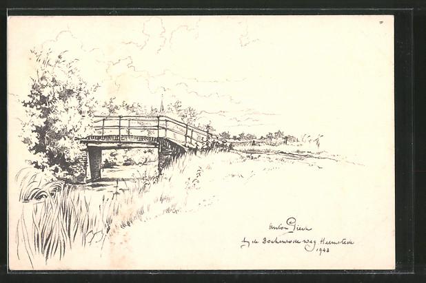 Künstler-AK Anton Pieck: Landschaftsmotiv mit Brücke