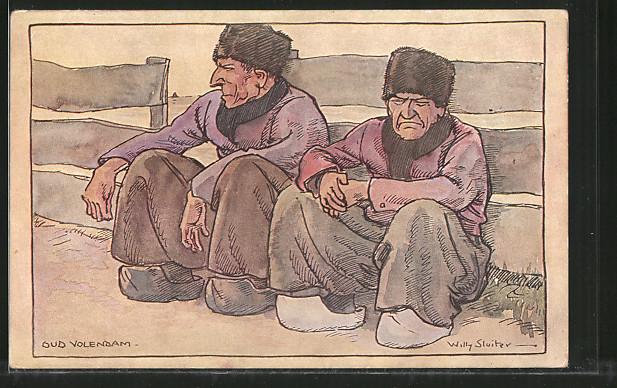Künstler-AK Willy Sluiter: Oud Volendam, Holländer in Tracht