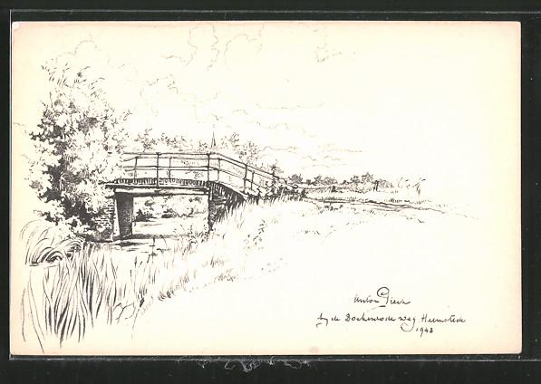 Künstler-AK Anton Pieck: Heemstede, Landschaftsmotiv und Brücke