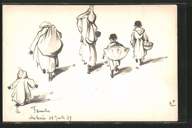 Künstler-AK Anton Pieck: Meknès, Orientalische Familie mit Lasten