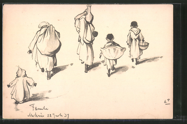 Künstler-AK Anton Pieck: Orientalische Familie mit Körben und Krügen